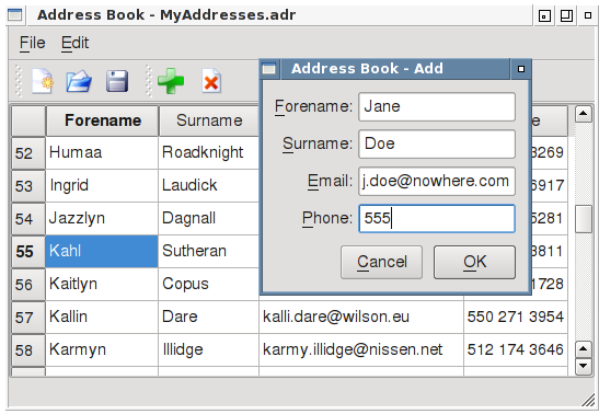 The Qt Addressbook Example.