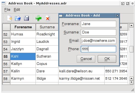 Captivating The Qt Addressbook Example.